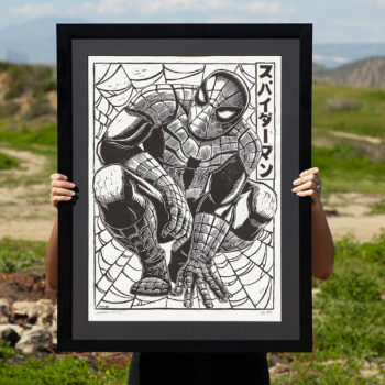 Spider-Man Linocut on Lokta Paper by artist Peter Santa-Maria Framed in Black