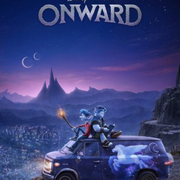 Onward Teaser Photos with Two Elf Brothers Sitting on top of their van with a unicorn on the side