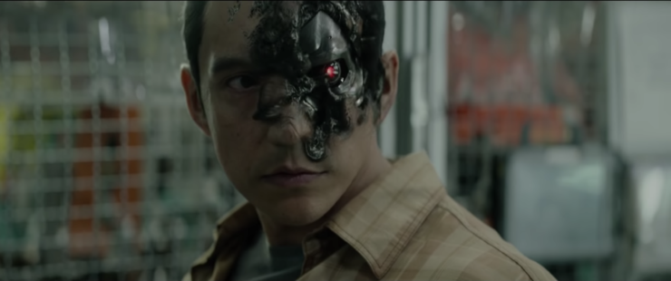 Gabriel Luna as a Terminator repairing his face