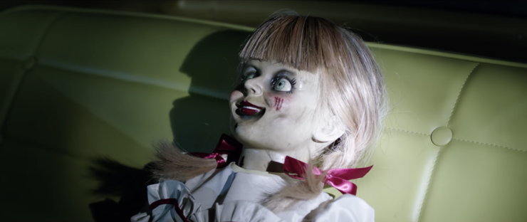 Annabelle Comes Home Trailer With Annabelle in a car seat