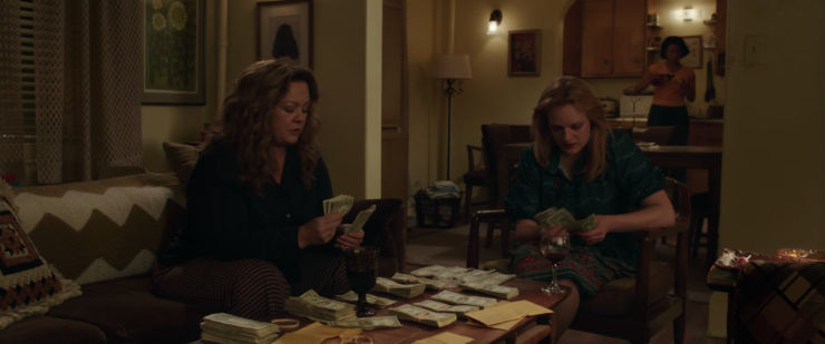 Melissa McCarthy, Tiffany Haddish, and Elisabeth Moss as mob wives in The Kitchen