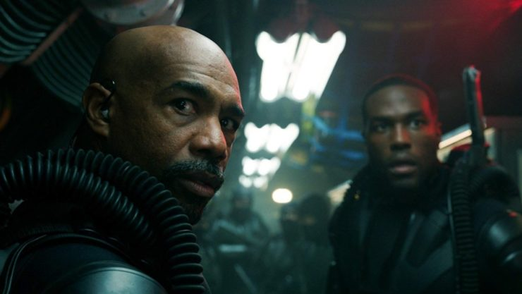 Michael Beach in Aquaman Turning to look over his shoulder
