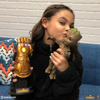 Ariana Greenblatt with Infinity Gauntlet and Groot