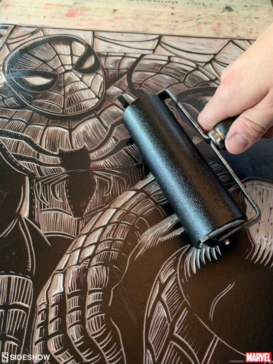 Peter Santa-Maria Prepares Spider-Man Linocut with Ink