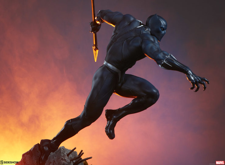 Black Panther Statue- Avengers Assemble Collection Profile Shot with Dramatic Lighting