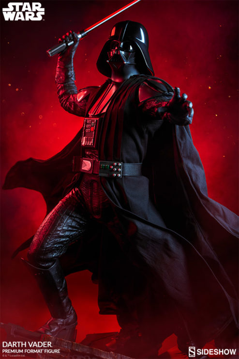 Darth Vader Premium Format™ Figure Dramatic Lighting Image with Red Background