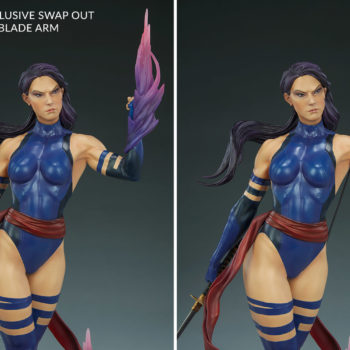 Psylocke Premium Format™ Figure Exclusive Edition Comparison between Psi-blade arm and Katana