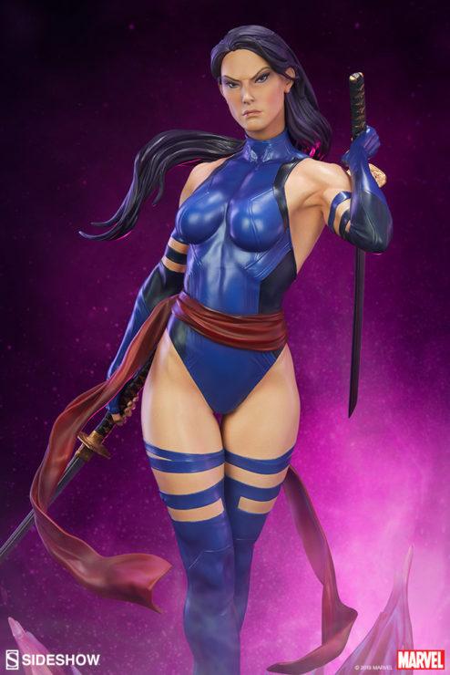 Psylocke Premium Format™ Figure Dramatic Lighting with Purple Background 1