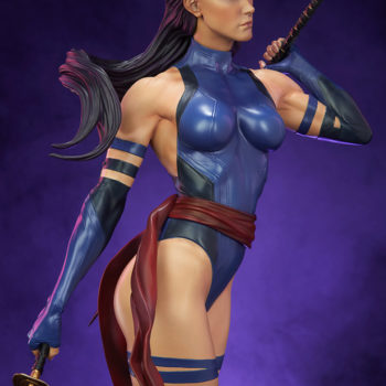Psylocke Premium Format™ Figure Dramatic Lighting with Purple Background 4