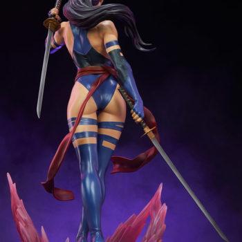 Psylocke Premium Format™ Figure Dramatic Lighting with Purple Background- Back View of Figure