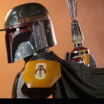 Boba Fett Life-Size Bust Dramatic Lighting Profile with Range Finder Down