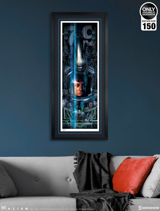 Alien 40th Anniversary Fine Art Print by Orlando Arocena Black Framed Edition on Wall Environment