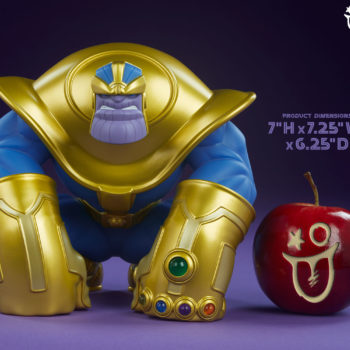 The Mad Titan Designer Toy by Joe DellaGatta- Unruly Industries Scale Comparison Shot with an Apple