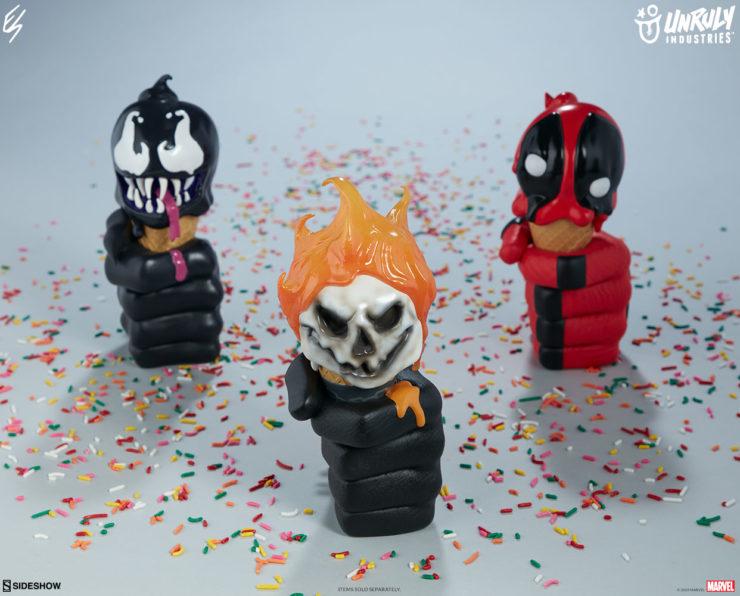 Marvel One-Scoops Designer Toys- Venom, Ghost Rider, Deadpool