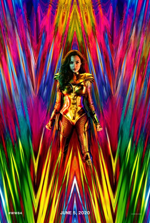 Wonder Woman 1984 Poster showing Wonder Woman in a brilliant array of colors and sharp shapes