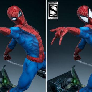 Spider-Man Premium Format™ Figure Exclusive Edition Portrait Comparison with Larger Mask Eyes