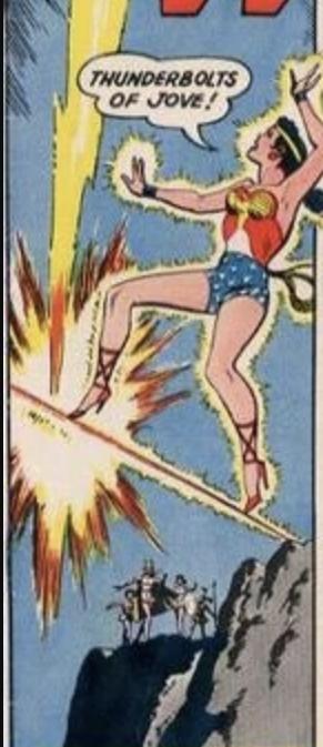 Wonder Woman saying Thunderbolts of Jove!