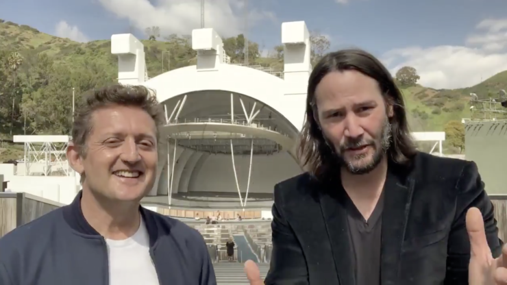 Keanu Reeves and Alex Winter announcing the release date of Bill and Ted 3