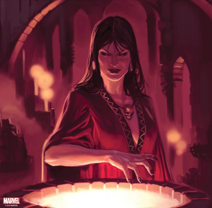 Morgan le Fay Marvel Sorceress with her hands over a cauldron