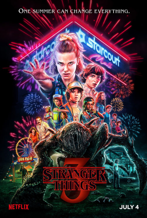 Stranger Things Season 3 Poster in the style of an 80s montage poster, showing new locations and the new season 3 monster