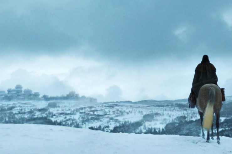 Games of Thrones Prequel first look, showing a hidden character looking over a frozen landscape