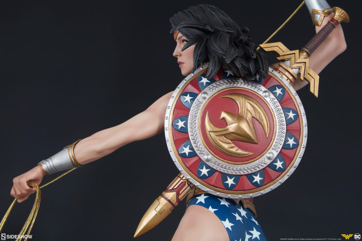 Wonder Woman Premium Format Figure facing her shield