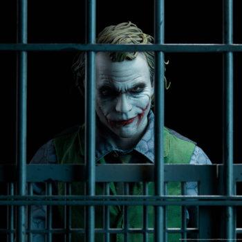 The Joker Premium Format™ Figure Portrait Behind Bars in Dramatic Lighting