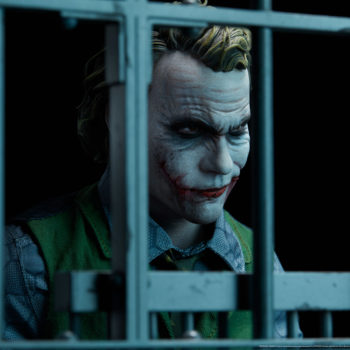 The Joker Premium Format™ Figure Portrait from Behind Bars with Dramatic Lighting 2