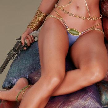 Dejah Thoris Premium Format™ Figure Overhead Angle of Legs and Radium Pistol