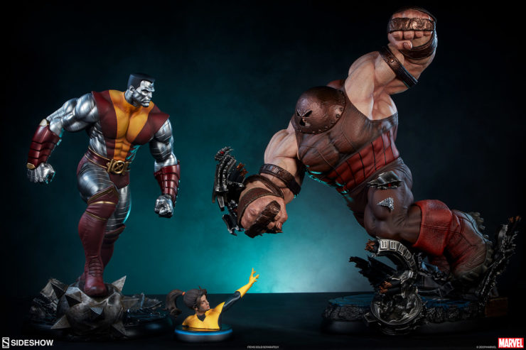 Colossus Premium Format™ Figure facing off with Juggernaut Maquette and Kitty Pryde