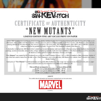 New Mutants Fine Art Lithograph by Bill Sienkiewicz Unframed Edition Certificate of Authenticity
