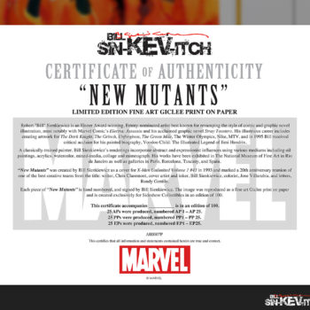 New Mutants Fine Art Lithograph by Bill Sienkiewicz White Framed Edition Certificate of Authenticity