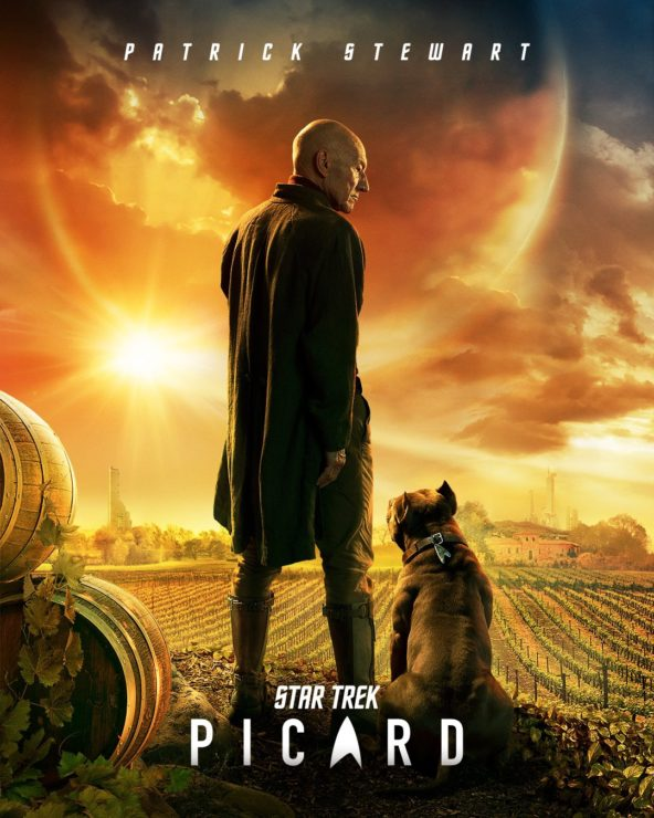 Star Trek: Picard poster, showing Sir Patrick Stewart looking over a vineyard with a dog at his side