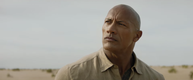 Dwayne Johnson with an intense smolder in Jumanji: The Next Level Trailer