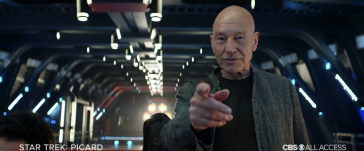 "Star Trek: Picard Trailer showing Sir Patrick Stewart pointing and saying ""engage!"""