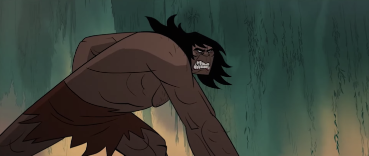 Genndy Tartakovsky's Primal showing the hunter tossing a spear, with him snarling