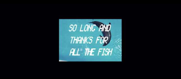 "The Hitchhiker's Guide to the Galaxy Screenshot showing the words ""So long and thanks for all the fish"""