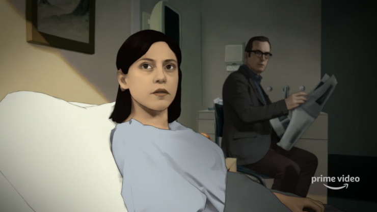 Amazon Prime's Undone Trailer showing Alma in the hospital with a vision of her dead father