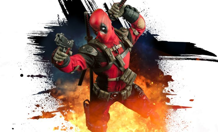 deadpool sixth scale figure jumping through an explosion