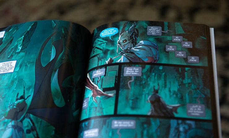 an inside look at Kier's comic from the court of the dead omnibus titled the grave tales
