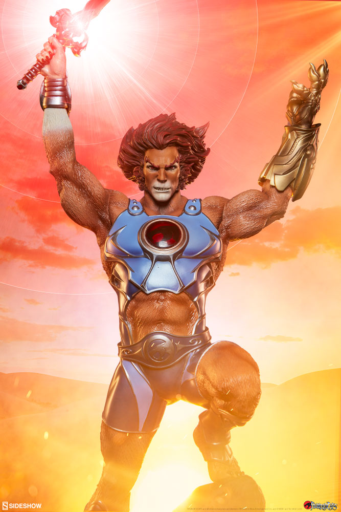 Lion-O Thundercats Statue by Sideshow with Lion-O wielding the Sword of Omens and the Claw Shield