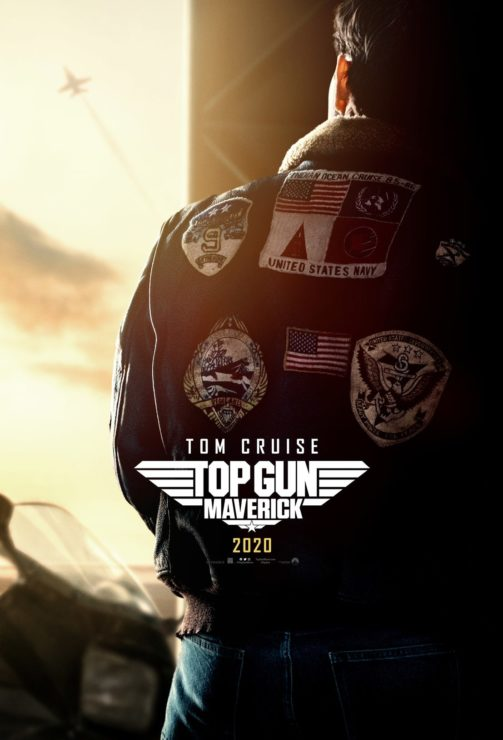 Top Gun: Maverick Poster showing Maverick's jacket silhouetted in the sunrise