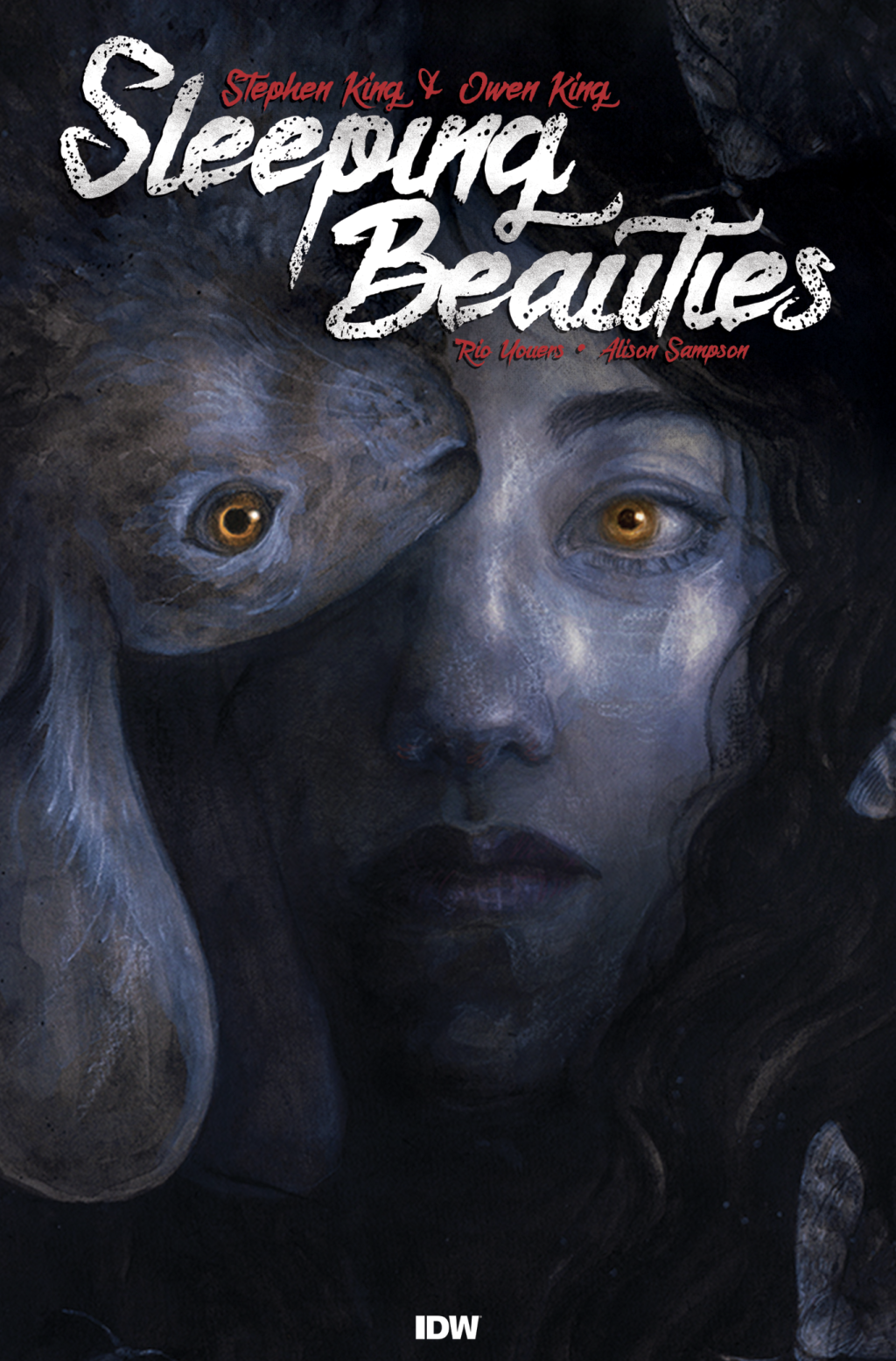IDW's Sleeping Beauties cover showing a girl with a golden eye and blue skin