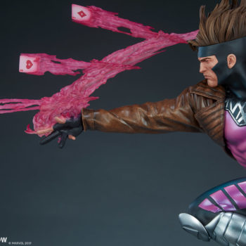 Gambit Maquette Throwing Kinetic Cards, Facing Left