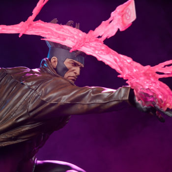 Gambit Maquette Throwing Kinetic Cards with Purple Background