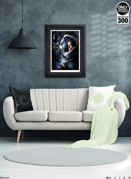 Alien 1979 Fine Art Print by Tsuneo Sanda Black Framed Edition on Wall Environment with Couch