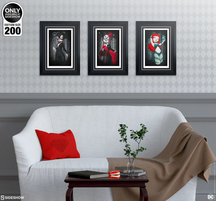Gotham Girls Fine Art Print Set by Emma 'Anarkitty' Geary Framed on Wall Environment with Couch