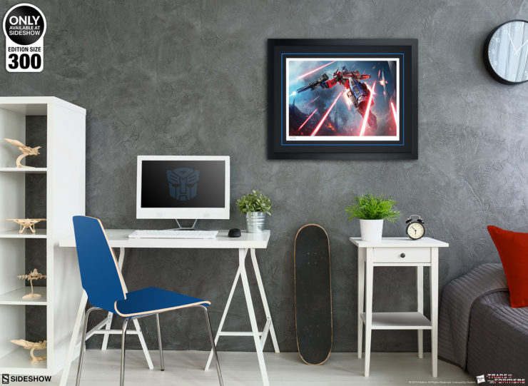 Optimus Prime: More Than Meets the Eye! Fine Art Print by Darren Tan Black Framed Edition on a Grey Wall Environment