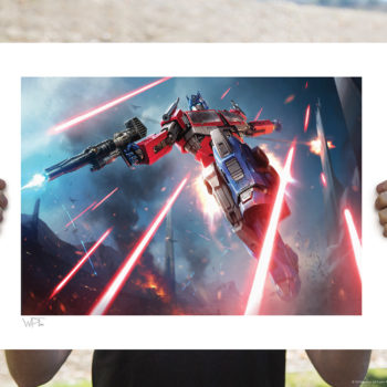 Optimus Prime: More Than Meets the Eye! Fine Art Print by Darren Tan Unframed Edition Held by Hands in Open Lighting