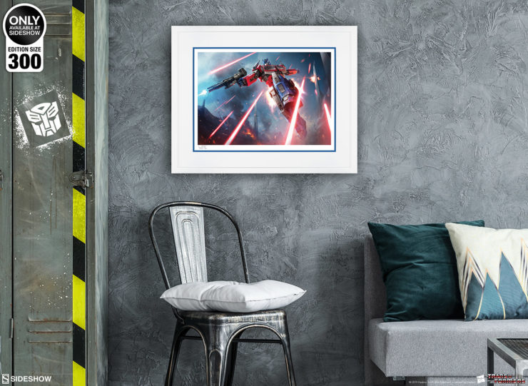 Optimus Prime: More Than Meets the Eye! Fine Art Print by Darren Tan White Framed Edition on a Grey Wall Environment